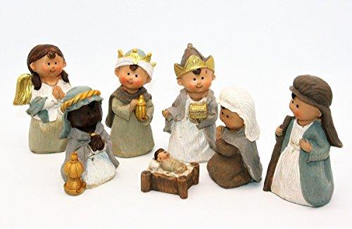 Geschenkestadl Krippenfiguren 7-teiliges Set Krippe Kindergesicht Figuren bis 10 cm Weihnachten