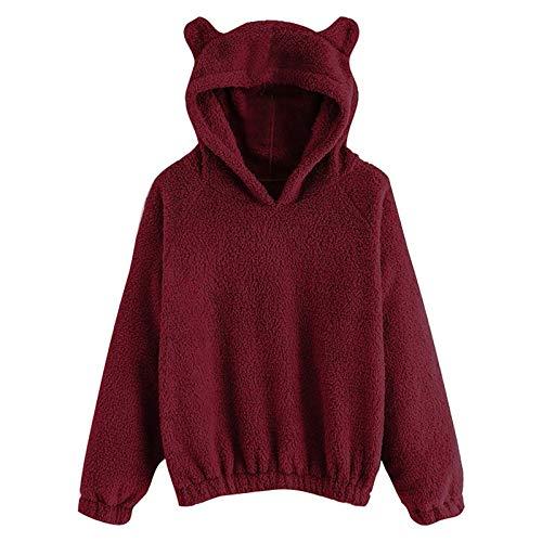 Dicomi Damen Langarm Fleece Sweatshirt Winter Warm Bär Form Fuzzy Hoodie Pullover Tops Gr. Small, wein