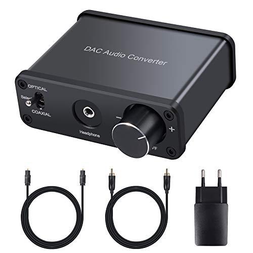 LiNKFOR 192KHz DAC Convertitore Audio con HiFi Amplificatore per Cuffie + Alimentatore Adattatore Audio Digitale ad Analogico con ON/OFF Interruttore Ottico/Coassiale e 1.5M Cavo Ottico