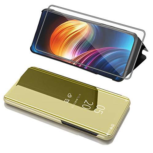 Case Compatible with Xiaom i Redmi Note 8T Cover Ultra Fina Transparente Flip Mirror para Espejo Smartphone Case para Redmi Note 8T Dorado 8 años