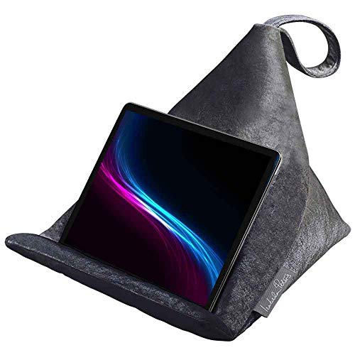 Izabela Peters Designer Bean Bag Cushion Pillow Stand for IPad, Tablet, Kindle, Phone – The Holder Supports Devices At Any Angle – Luxurious Shimmer Velvet – Graphite | Signature Colour Collection
