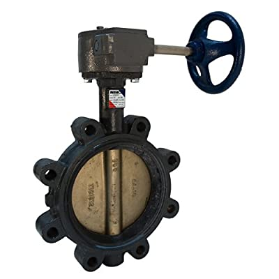 """NIBCO LD-2000-5 Series Ductile Iron Butterfly Valve with EPDM Liner and Aluminum Bronze Disc, Gear Operator, Lug, 10"""" from NIBCO"""