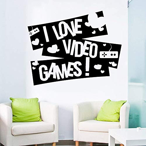 supmsds Gaming I Love Video Games Vinyl Decal Gamer Wall Stickers Boy Dormitorio Decoración Game Zone Art Decals Mural Removable for Kids 53X42CM