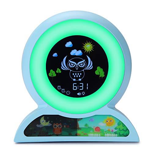 Wecker für Kinder, Wake Up Licht Wecker, Yisun Kinderschlaf-Trainingsuhr Wecker Nachtlicht für Kinder Weckuhr mit 5 Farben Ändern,7 Arten von Musik für Kinder Lichtwecker (Blau)