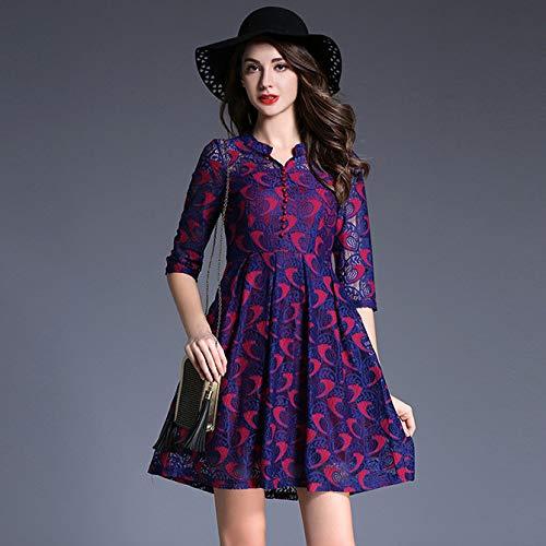 QUNLIANYI avondjurk abibaljurk vrouwen A-Line rok mouwen kraag gedrukt kleur kanten jurk