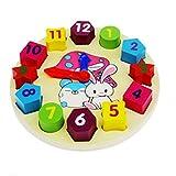 Hktec Juego de piezas de construcción de juguete, forma de reloj de madera, geometría digital, reloj para niños, bebés, niños, desarrollo del cerebro, apilable, surtido apilable, juguetes educativos