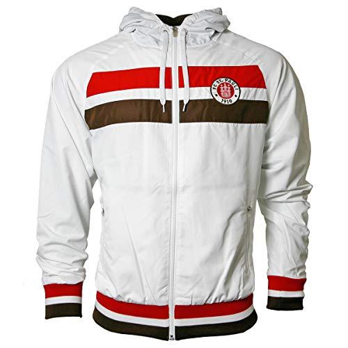FC St. Pauli Kapuzenjacke Jacke Logo 2019 weiß + 2X FANERGY Traubenzucker (XXL) (M)