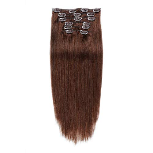 JIAMEISI Haar Echthaar Clips guenstig 50cm 70g Clip-In Hair Extensions 7 Tressen 16 Clips Glatt Echthaar Extensions Clip für komplette Remy Echthaar (#4 Schokobraun)