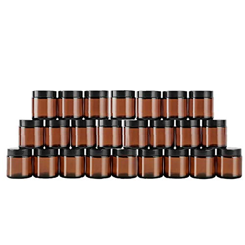Amber Glas Leerdose klarer Tiegel 30 Stück 20ml Töpfchen Döschen Set für Lotion, Creme, Mini-Kerzen, Kosmetik