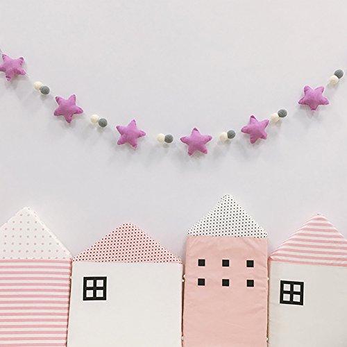 Steellwingsf - Guirnalda de Pompones de Estilo nórdico, diseño de Estrellas, Tela de algodón, Morado, Talla única