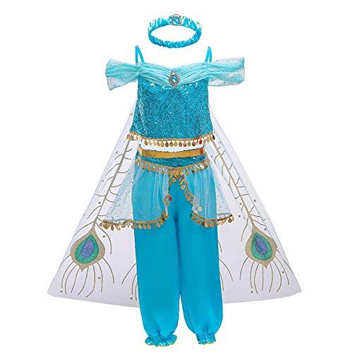 OBEEII Disfraz Jazmin Jasmine Niña Princesa Aladdín Disfraces con Capa Carnaval Traje de Vestidos Halloween Navidad Fiesta Cosplay Costume para Chicas