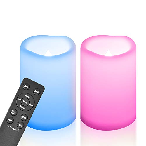"""2 Large Outdoor Waterproof Color Changing Flameless Candles Remote Timer Flickering Battery Operated Electric LED White Plastic Pillar Garden Patio Halloween Christmas Wedding Party Decorations 4""""x6"""""""