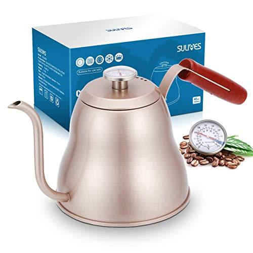 SULIVES Kaffeekessel Edelstahl mit Thermometer, 1.2 l/40oz,Wasserkessel Edelstahl mit schwanenhals,gooseneck Pour Over Coffee Kettle für präzises Ausgießen - Champagner (1.2L/40oz, Champagner)