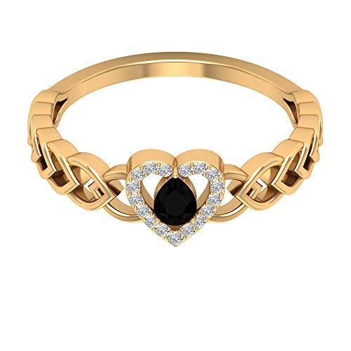 Anello solitario con diamante nero da 1/4 ct con diamante, anello in filigrana da donna, anello a forma di cuore (4 x 3 mm, 14K Giallo oro, Size:EU 56