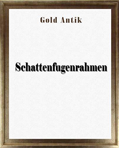Leon Schattenfugenrahmen 40x120 cm in Gold Antik ohne Verglasung ideal für Canvas Leinwand Bilder Farbwahl