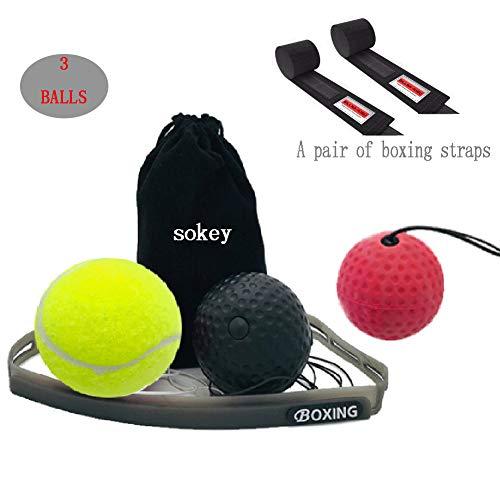 Boxtraining, Boxtraining Ball, Boxen Ball Set mit Handschlaufe, Kampf Dekompression Vent Ball Reflex Training Koordinationsfähigkeit Geschwindigkeit Präzision Dekompression