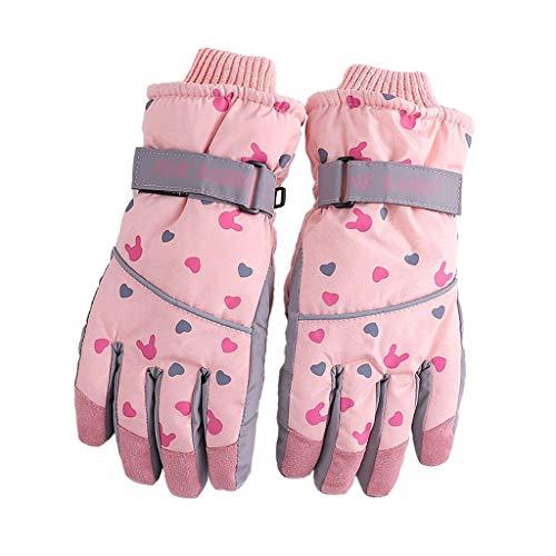 Winterhandschoenen skihandschoenen outdoor winddicht polyester katoen mantel warm fluweel fiets handschoenen antislip roze