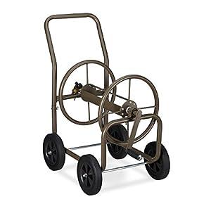 Relaxdays Carro para Manguera XL, Carrete portátil, 2X Tomas de Agua de 3/4″, 60m, Enrollador de 90º, Marrón