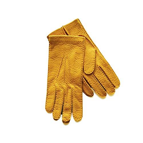 Handschuhe Vollleder Leder Peccary Peccari Pecari Herren Cashmere Kaschmir Gefütterte Futter Feine Italienische Italien Made Italy Leder Oldtimer Stronghand Stulpen Fahrer Faust Kurze Hellbraun (9)