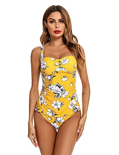 Doaraha Tankinis Mujer Traje de Baño de Dos Piezas Tirantes Ajustables Tops Tankini y Breifs Diseño de Flores Bañadores Conjuntos de Bikinis para Playa,Piscina,Vacaciones,Talla Grande