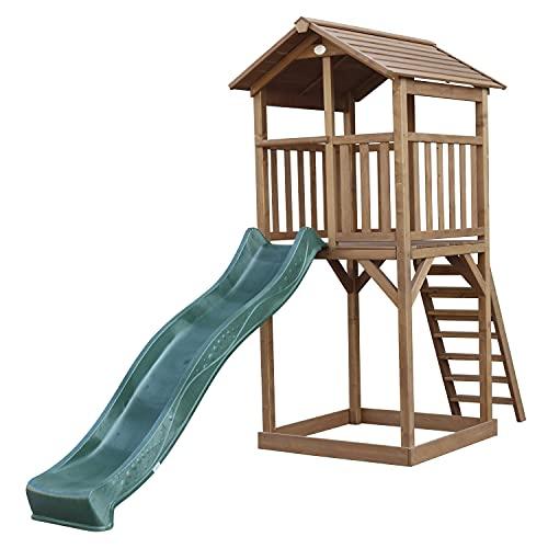 AXI Beach Tower Aire de Jeux avec Toboggan en Vert & Bac à Sable | Grande Maison Enfant extérieur en Marron | Cabane de Jeu en Bois FSC