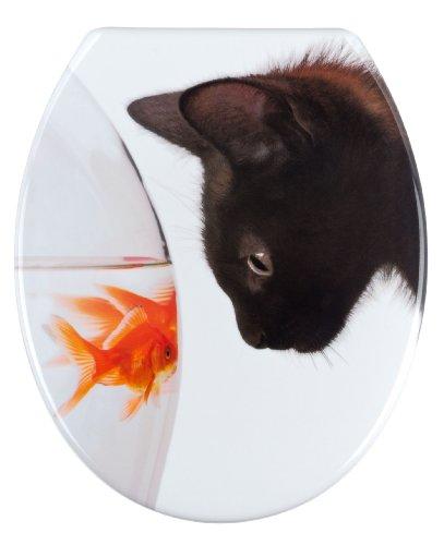 WENKO Abattant WC Poisson & Chat - antibactérien, fixation en acier inox, Duroplast, 37.5 x 45 cm, Multicolore