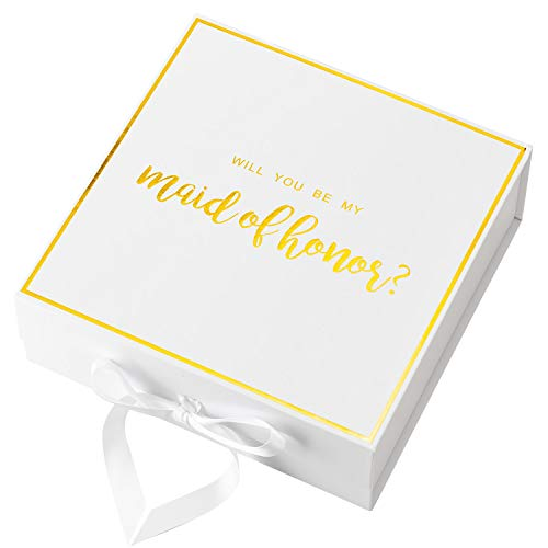 Crisky White Maid of Honor Proposal Box with Gold Foiled Text | Set of 1 Empty Boxes | Perfect for Will You Be My Maid of Honor Gift and Wedding Present