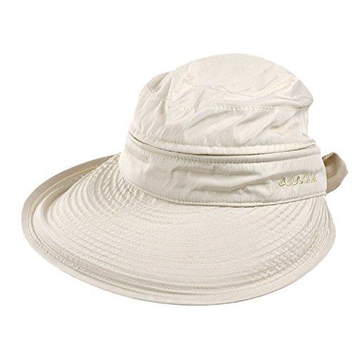 Women's Big Wide Brim Sun Hat UV Protection Sun Visor Hat Lightweight Golf Folding Hat (Beige)
