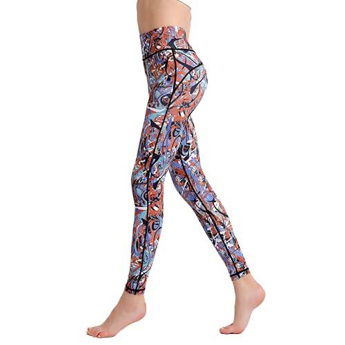 QTJY Pantalones de Yoga elásticos de Cintura Alta Estampados para Mujer, Mallas sin Costuras para Correr Deportes y Ejercicios A XL
