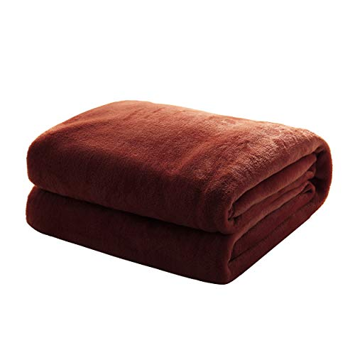 Mixibaby Kuscheldecke Flauschige extra weich & warm Wohndecke Flanell Fleecedecke, Falten beständig/Anti-verfärben als Sofadecke oder Bettüberwurf, Maße Decke Sarah:220 cm x 240 cm, Farbe:Dunkelbraun