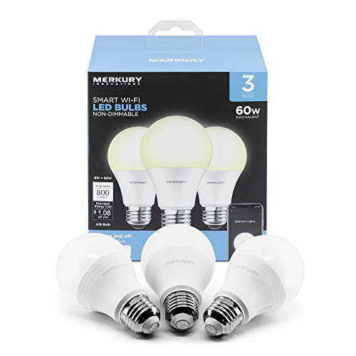 Merkury Innovations A19 Smart White LED Bulb, 60W, Non-Dimmable, 3-Pack