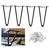 Osring Black Hairpin Legs 10 Inch Furniture Table Feet, Mid-Century Furniture Hairpin Leg Steel, 3/8'Dia 2-Rods Coffee Table Feet with Floor Protector Feet, 4 Pack
