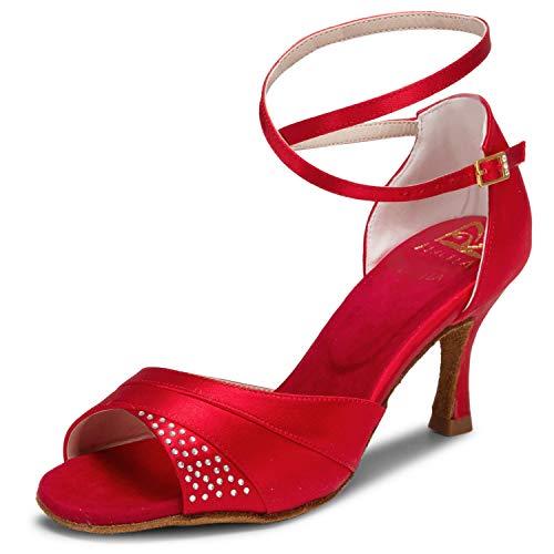 Jia Jia 20522 Damen Sandalen Ausgestelltes Heel Super-Satin mit Strass Latein Tanzschuhe Rot , 37 - 2