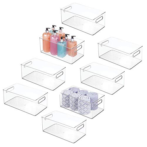 mDesign Deep Plastic Storage Bin Basket Tote with Handles for Organizing Cosmetics, Makeup Palettes, Body Wash, First Aid, Vitamins, Supplements, Hair Styling Accessories - 8 Pack - Clear