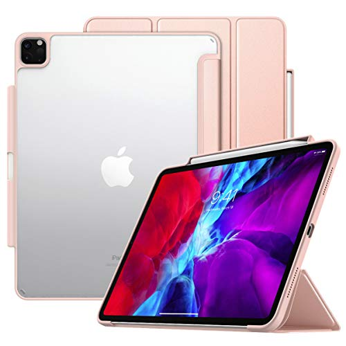MoKo Case Fit iPad Pro 12.9 4th Gen 2020 & 2018 with Apple Pencil Holder [Support Wireless Charging] Smart Shell Protective Cover with Translucent Back Corner/Bumper, Auto Wake/Sleep - Rose Gold