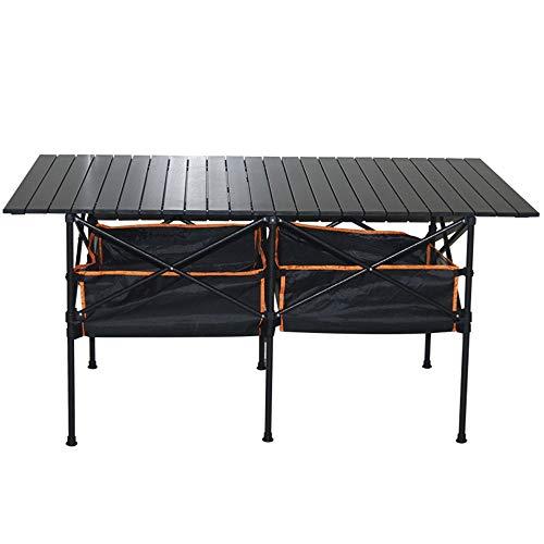 WPCBAA WPCBAA Tragbare Aluminium Outdoor & Indoor Klapptisch, BBQ Picknick Camping Garten Party Tisch, einfache rechteckige Klapptisch mit Hängematte Stil Ablagekorb & Tragetasche Klapptisch im Freien