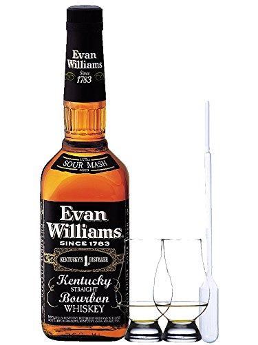 Evan Williams 7 Jahre Black Label Bourbon Whiskey 0,7 Liter + 2 Glencairn Gläser + Einwegpipette 1 Stück
