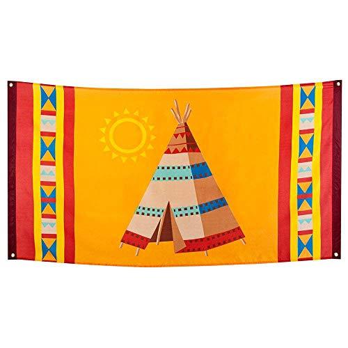 Boland 44103 - Fahne Indianer, 1 Stück, Größe 90 x 150 cm, Tipi-Zelt, Wilder Westen, Dekorationsbanner, Dekoration, Wanddekoration, Mottoparty, Geburtstag, Karneval, Hängedekoration