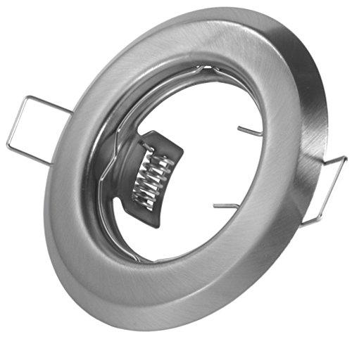 Einbaustrahler - Farbe: Edelstahl gebürstet - Material: Stahlblech - Lochausschnitt: 55mm - Außendurchmesser: 85mm - Für 50mm Leuchtmittel - Set mit 12V und 230V Fassung