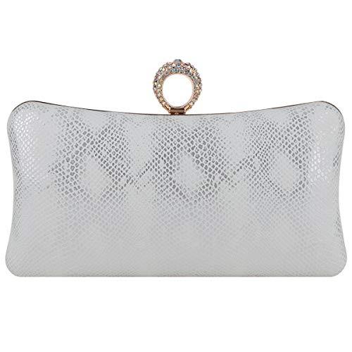 Fawziya Bling Ring Clutch Cocktail Purses For Women Snakeskin Evening Bag-White