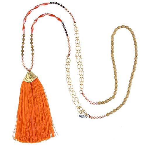 KELITCH Mujer Collar Cadenas de Oro de Signo de la Paz Collares Turquesa ágata Mixto Collar Gargantilla de Borla