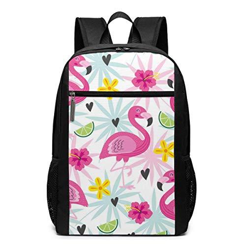 ZYWL Pink Flamingo Rucksack, Business Durable Laptop Rucksack, Wasserbeständige College School Computer Tasche Geschenke für Männer Frauen, 17in x 12in x 6in, schwarz