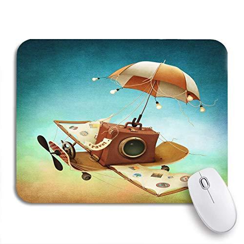 Adowyee Gaming Mauspad Fantasy Reise und fliegende Skateboard Buchgeschichte Abenteuer Fee rutschfeste Gummi Backing Computer Mousepad für Notebooks Mausmatten