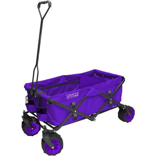 Creative Outdoor Distributor All-Terrain Folding Wagon, (Purple) - Divider Included - Multipurpose Cart for Gardening, Camping, Beach Trips, and Travelling