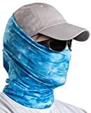 Aqua Design Fishing Hunting Masks Neck Gaiters for Men and Youth: UPF 50+ Sun Mask Protection: Camo Half Face Cover Balaclava Bandana: Royal Ripple: Size Large