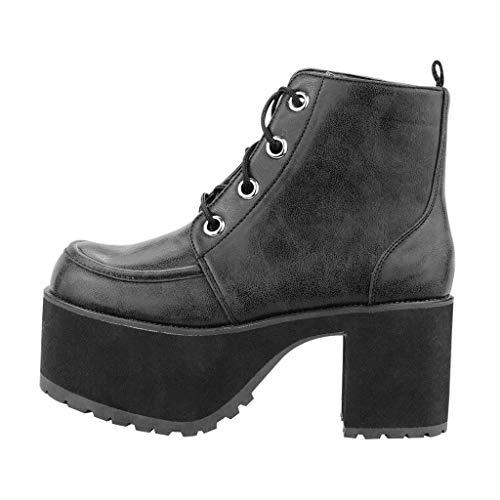T.U.K.. Shoes Women's Distressed Black 4-Eye Nosebleed Boot EU41/UKW8