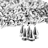 PMLAND 200 Sets/Pairs 9.5mm Silver Cone Spikes Screwback Studs DIY Craft Cool Rivets Punk