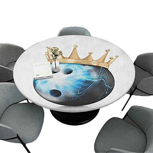Fitted Printing Tablecloth, 67 Inch Round Polyester Home Kitchen Decoration, Crown on Artistic Ball Bowling King Champion Victory Theme Print, Sky Blue Black Gold