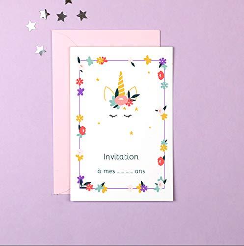 popcarte 16 Cartes d'invitation Anniversaire Fille avec 16 Enveloppes • Licorne Fleurie (Rose)