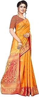 Neerav Exports Banarasi Silk With Weaving Zari Butta Saree (Orange)